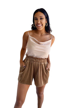 Ruffled waist shorts- camel