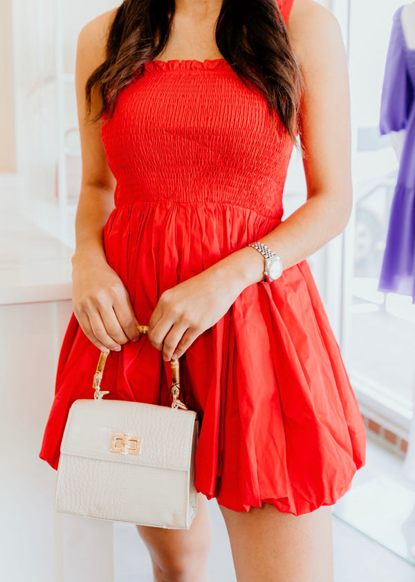 Bubble skirt dress- red