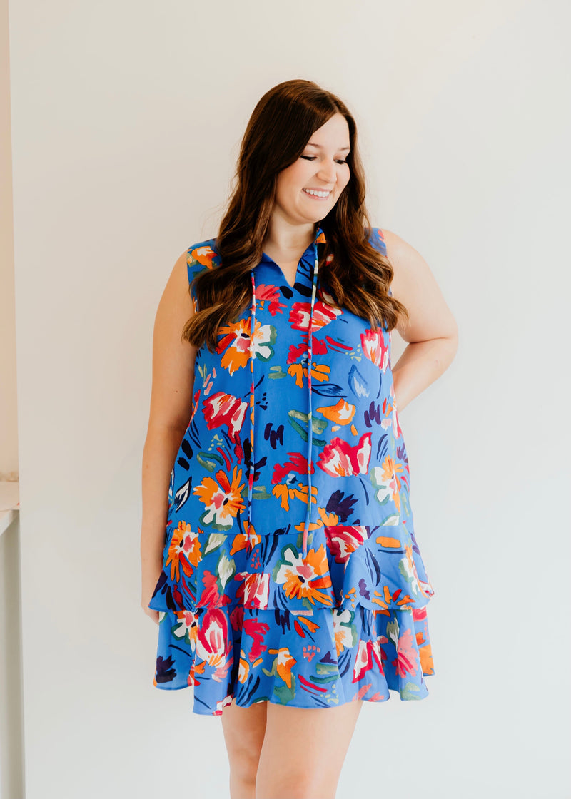 Floral strokes tiered dress