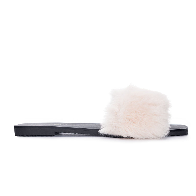 Madonna fur slippers- beige