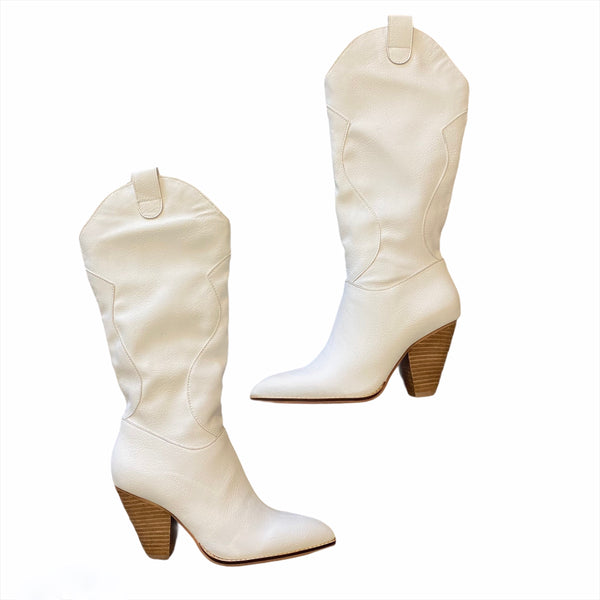 Bohemian western boots- white