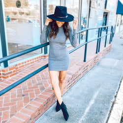 Turtle neck sweater dress- charcoal