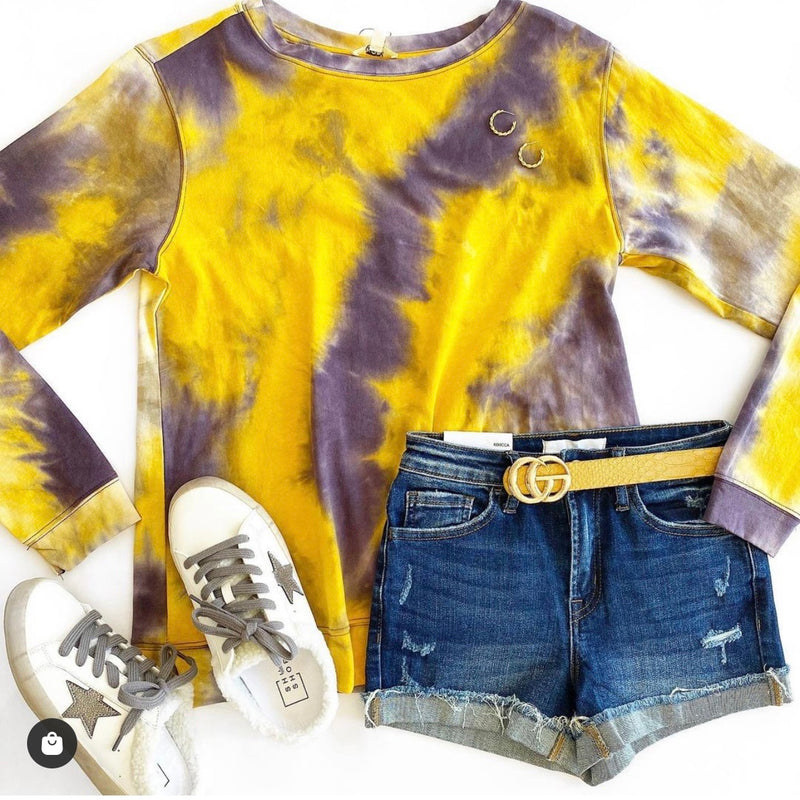 Tie dye sweatshirt- purple/yellow