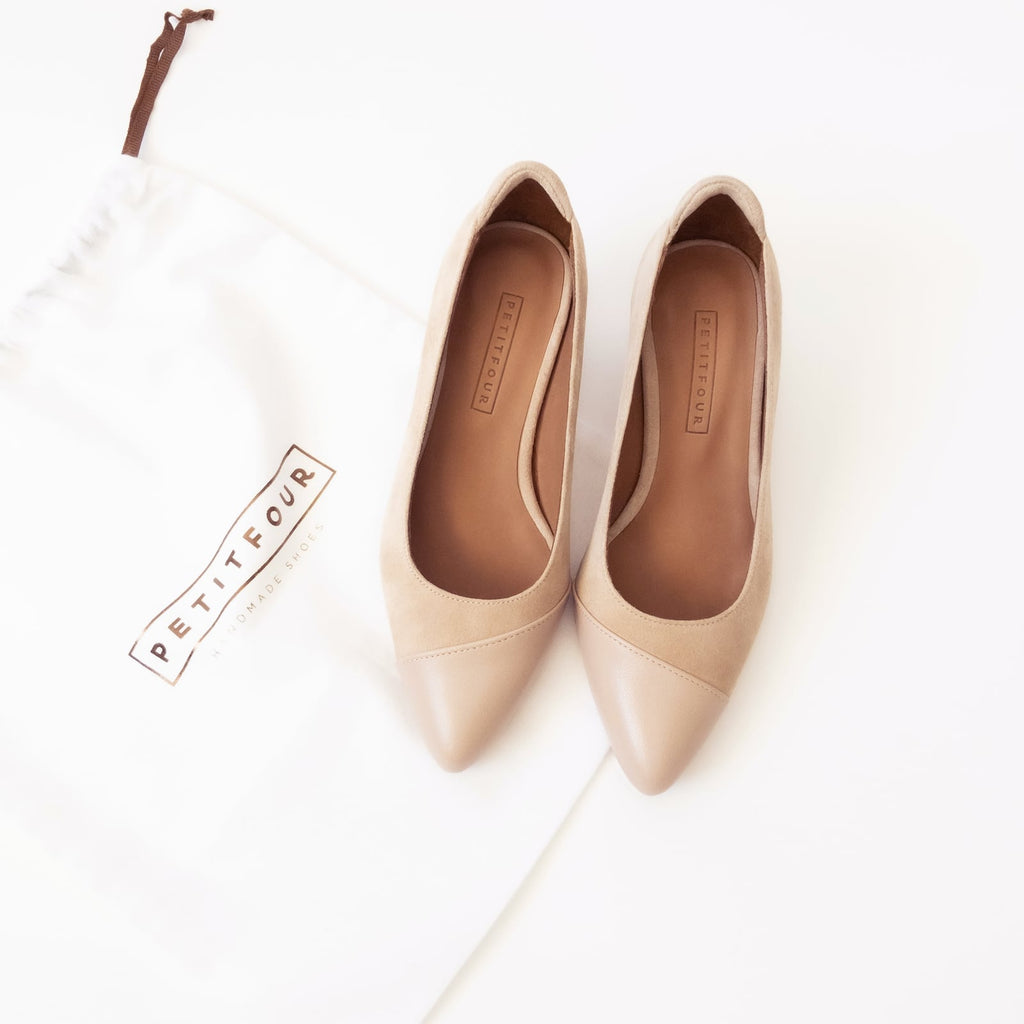 top view of beige heels almond small size shoes model from petitfour magnolia collection