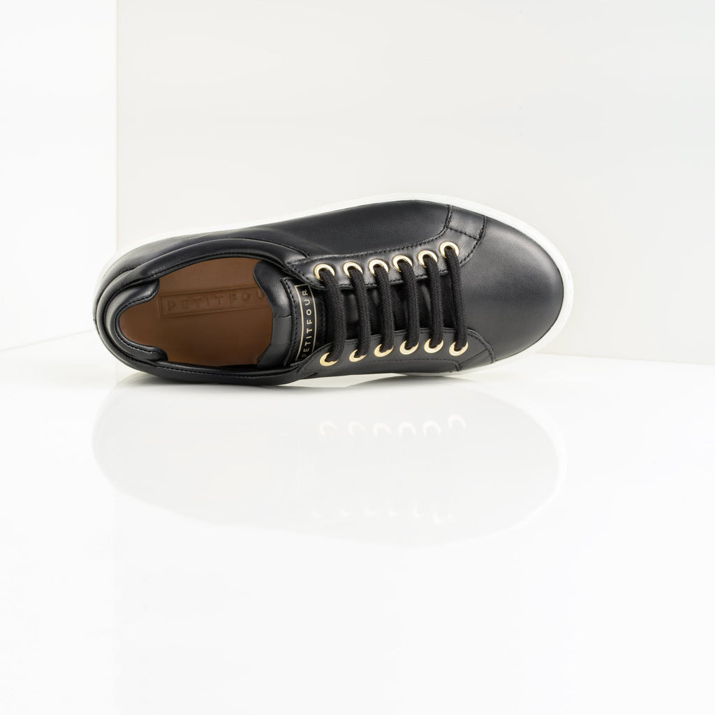 top view of black leather sneaker black coffee small size shoes model from petitfour feeling good collection