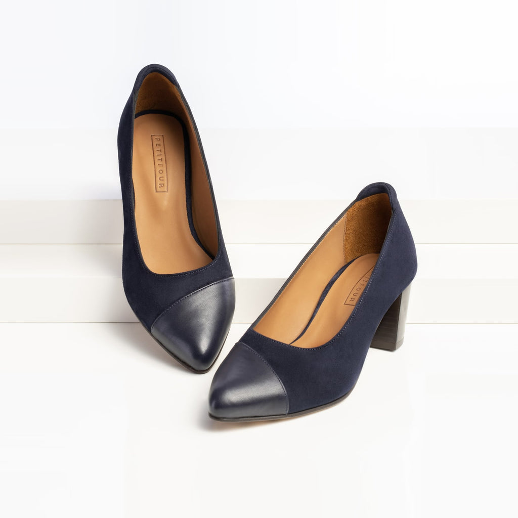 top and side view of blue heels blueberry small size shoes model from petitfour magnolia collection