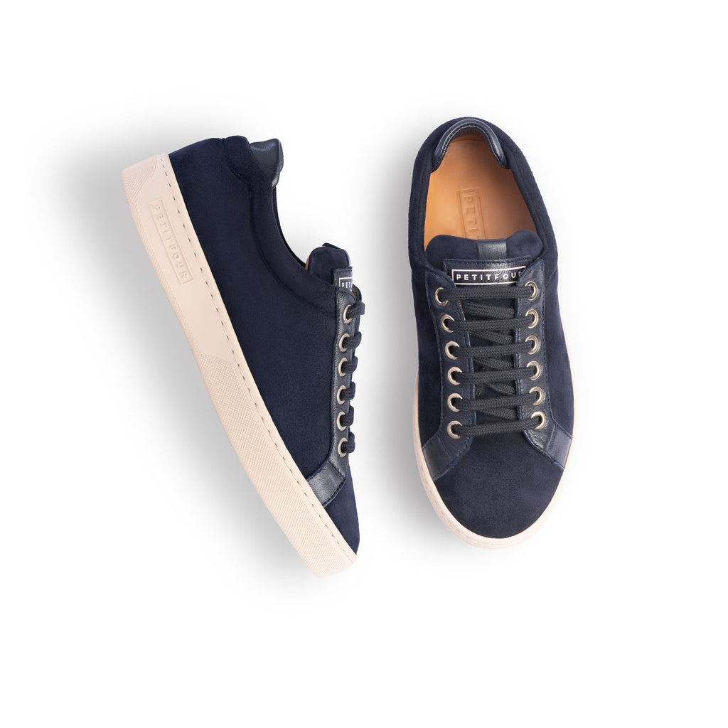 top and side view of blue sneakers blueberry small size shoes model from petitfour feeling good collection