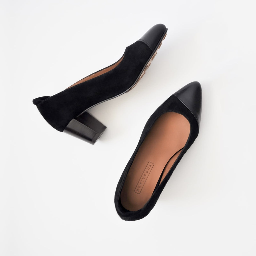 top and side view of black heels liquorice small size shoes model from petitfour magnolia collection
