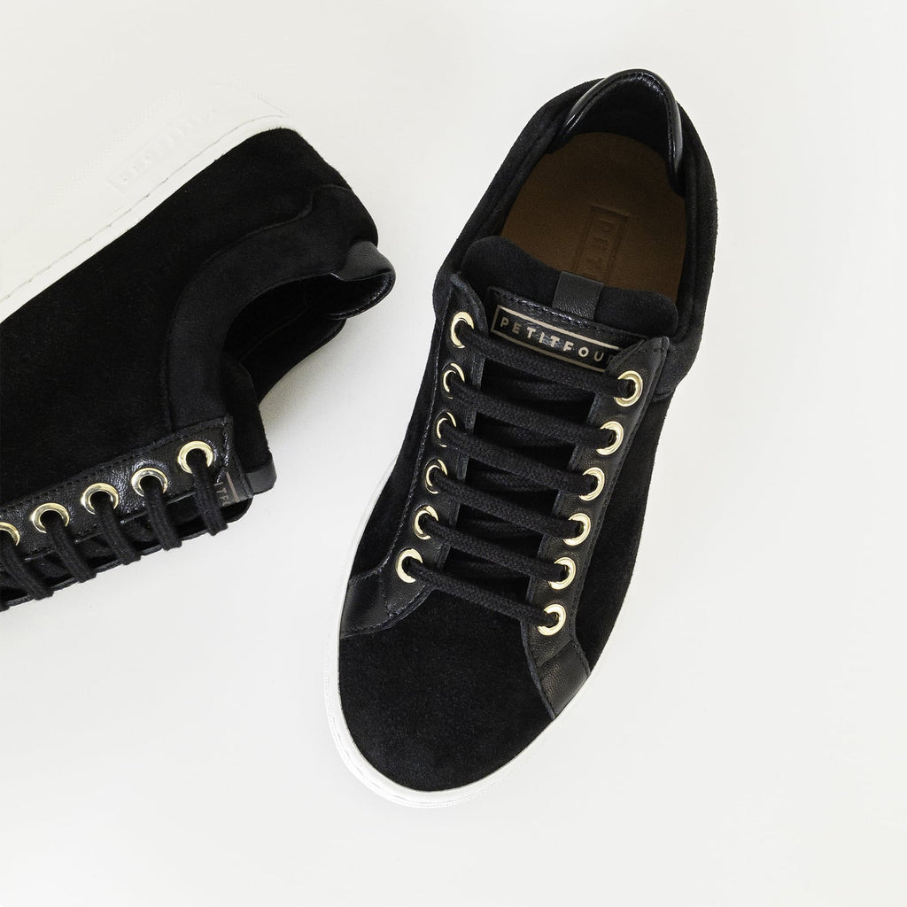 top and side view of black sneakers liquorice small size shoes model from petitfour feeling good collection
