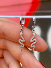 Load image into Gallery viewer, Vintage Inspired Snake Earrings Gold Plated in Silver Colour