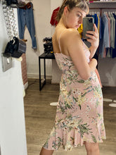 Load image into Gallery viewer, Vintage Inspired Cami Dress with Floral Print in Pastel Pink Sizes XS-XL