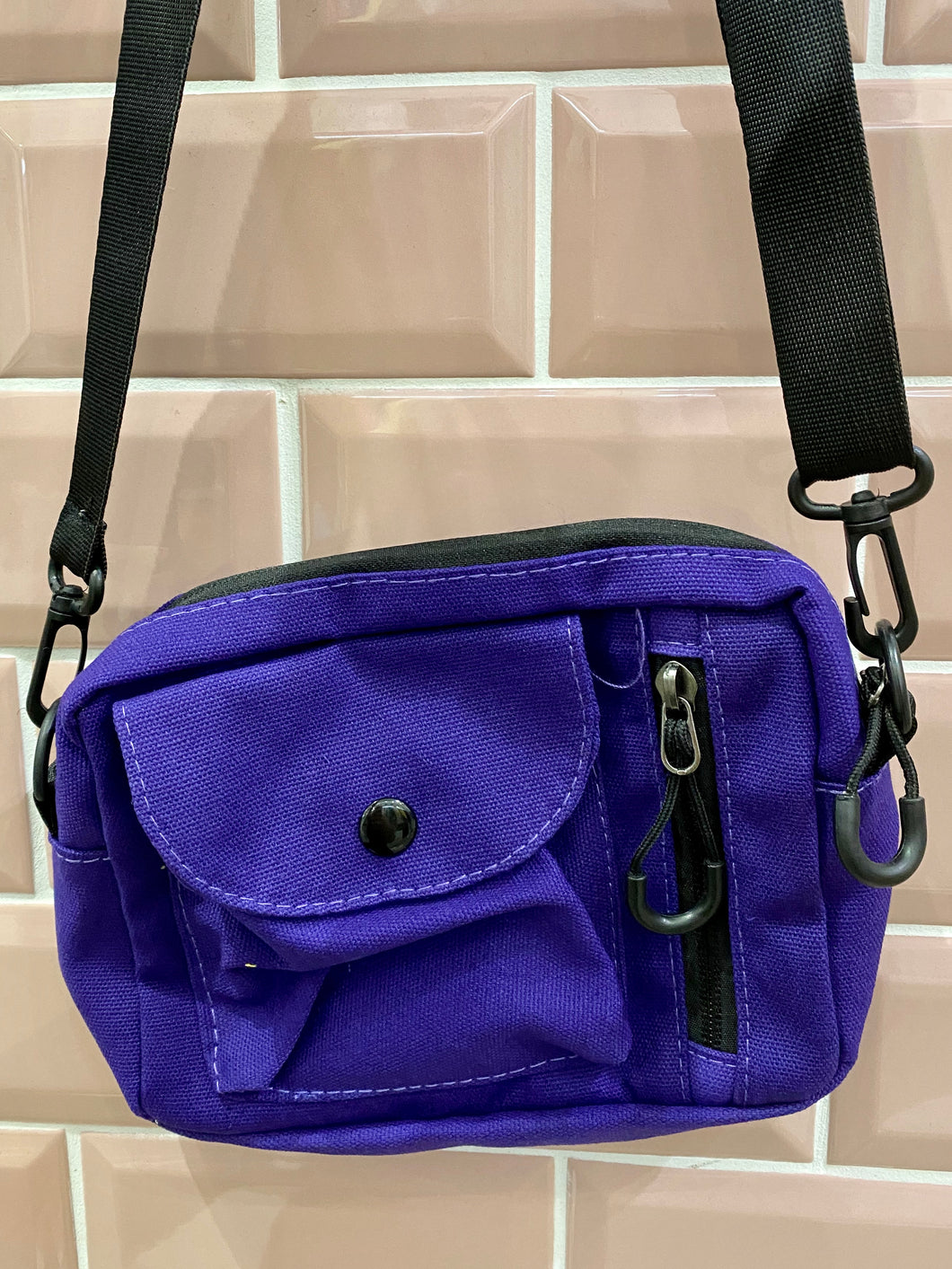 Vintage Inspired Bag Cross Body in Purple with Black Zipper Details
