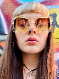 Vintage Inspired Sunglasses Big Square Shape in Cream & Brown with UV400