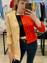 Load image into Gallery viewer, Vintage Reworked Blazer Asymmetrical Half Half in Orange and Red in S