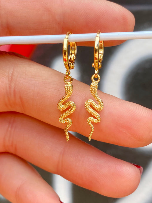 Vintage Inspired Snake Earrings Gold Plated in Gold Colour