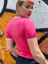 Load image into Gallery viewer, Vintage 80s T-Shirt in Pink with White Details and Embroidery in S
