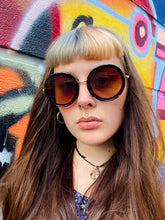 Load image into Gallery viewer, Vintage Inspired Sunglasses Big Round Shape in Brown and Gold with UV400