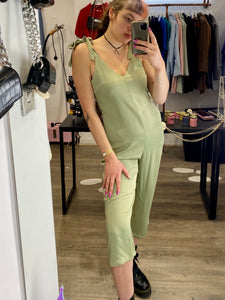 Vintage Inspired Jumpsuit in Khaki Green with Tied Straps in M