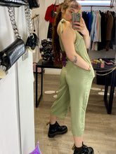 Load image into Gallery viewer, Vintage Inspired Jumpsuit in Khaki Green with Tied Straps in M