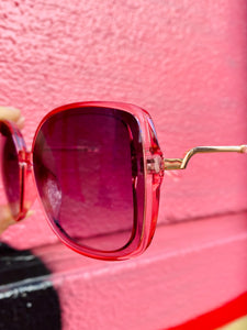 Vintage Inspired Sunglasses Big Square Shape in Clear Pink with UV400