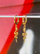 Load image into Gallery viewer, Vintage Inspired Snake Earrings Gold Plated in Gold Colour