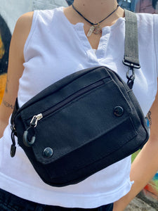 Vintage Inspired Bag Cross Body in Black with Zipper Details