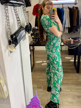 Load image into Gallery viewer, Vintage Inspired Jumpsuit in Green with White Monkey Jungle Print in M