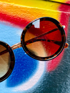 Vintage Inspired Sunglasses Big Round Shape in Brown and Gold with UV400
