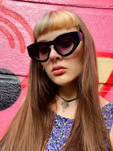 Vintage Inspired Sunglasses Big Cat Eye Shape in Black with UV400