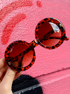 Vintage Inspired Sunglasses Big Round Shape in Brown Leopard Pattern with UV400