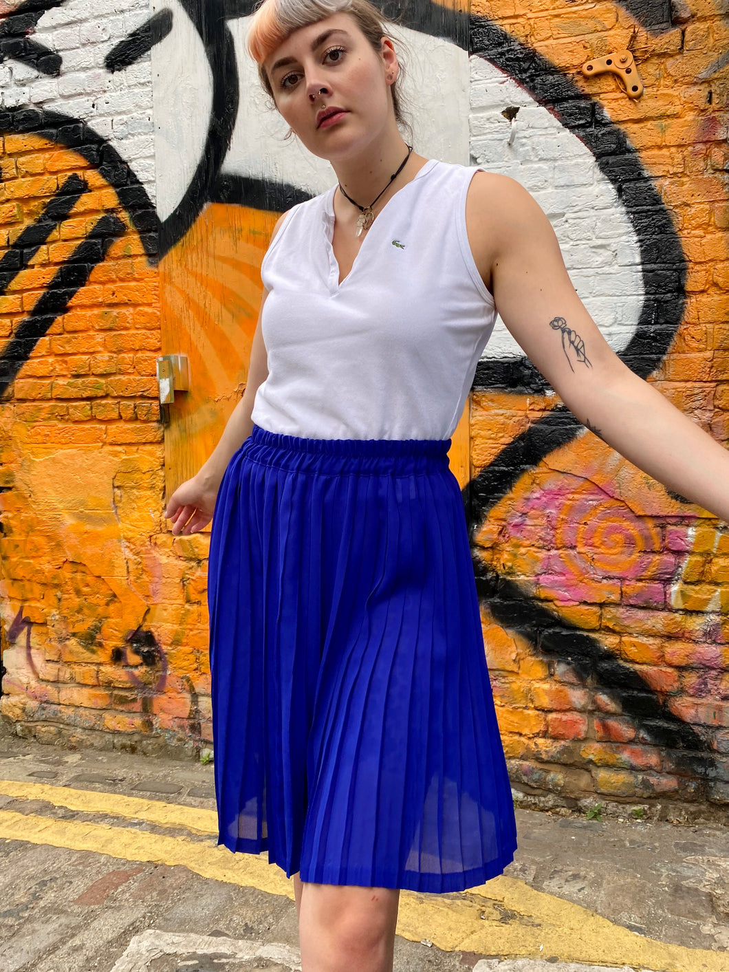 Vintage 70s Skirt Pleated Midi in Blue in S