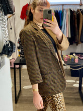 Load image into Gallery viewer, Vintage Reworked Blazer Half Half in Beige Brown Checked in M