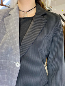 Vintage Inspired Blazer Half Half in Black Grey Checked Striped in M