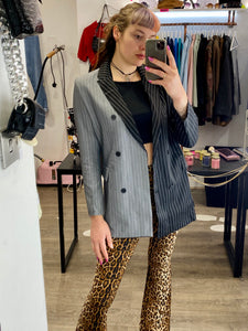 Vintage Inspired Blazer Half Half in Black Grey Striped in M