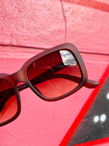 Vintage Inspired Sunglasses Square Shape in Brown Matt with UV400