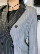 Load image into Gallery viewer, Vintage Inspired Blazer Half Half in Black Grey Striped in M