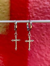 Load image into Gallery viewer, Vintage Inspired Cross Earrings Gold Plated in Silver Colour