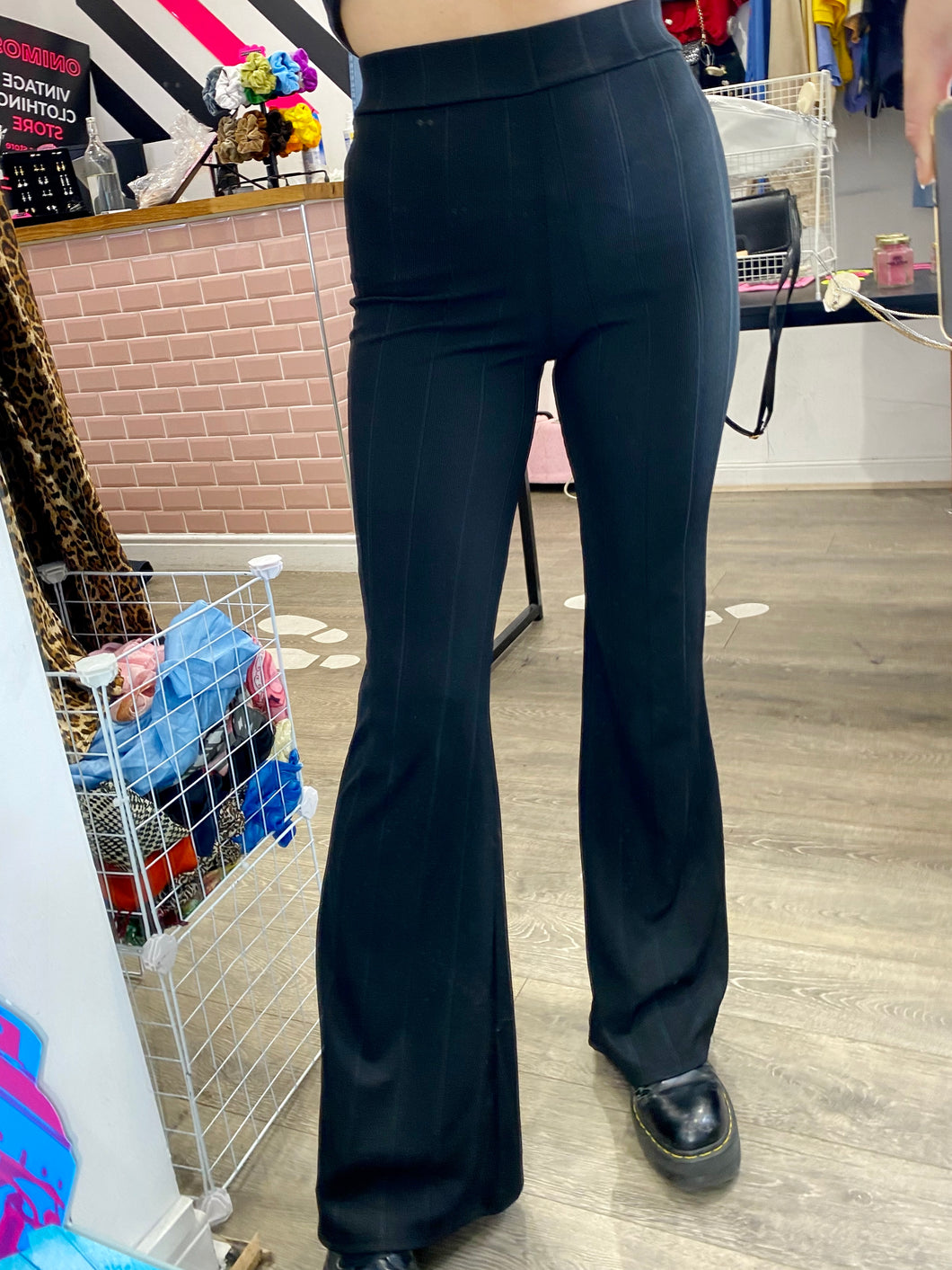 Vintage Inspired Flares in Black with Ribbed Material in M