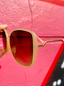 Vintage Inspired Sunglasses Big Square Shape in Cream with UV400