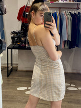 Load image into Gallery viewer, Vintage Inspired Dress Half Half Striped Squared in Beige Sizes XS-L