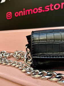 Vintage Inspired 90s Small Black Crocodile Textured Bag with Big Chunky Silver Chain
