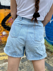 Vintage 90s Denim Shorts in Light Blue Wash in S
