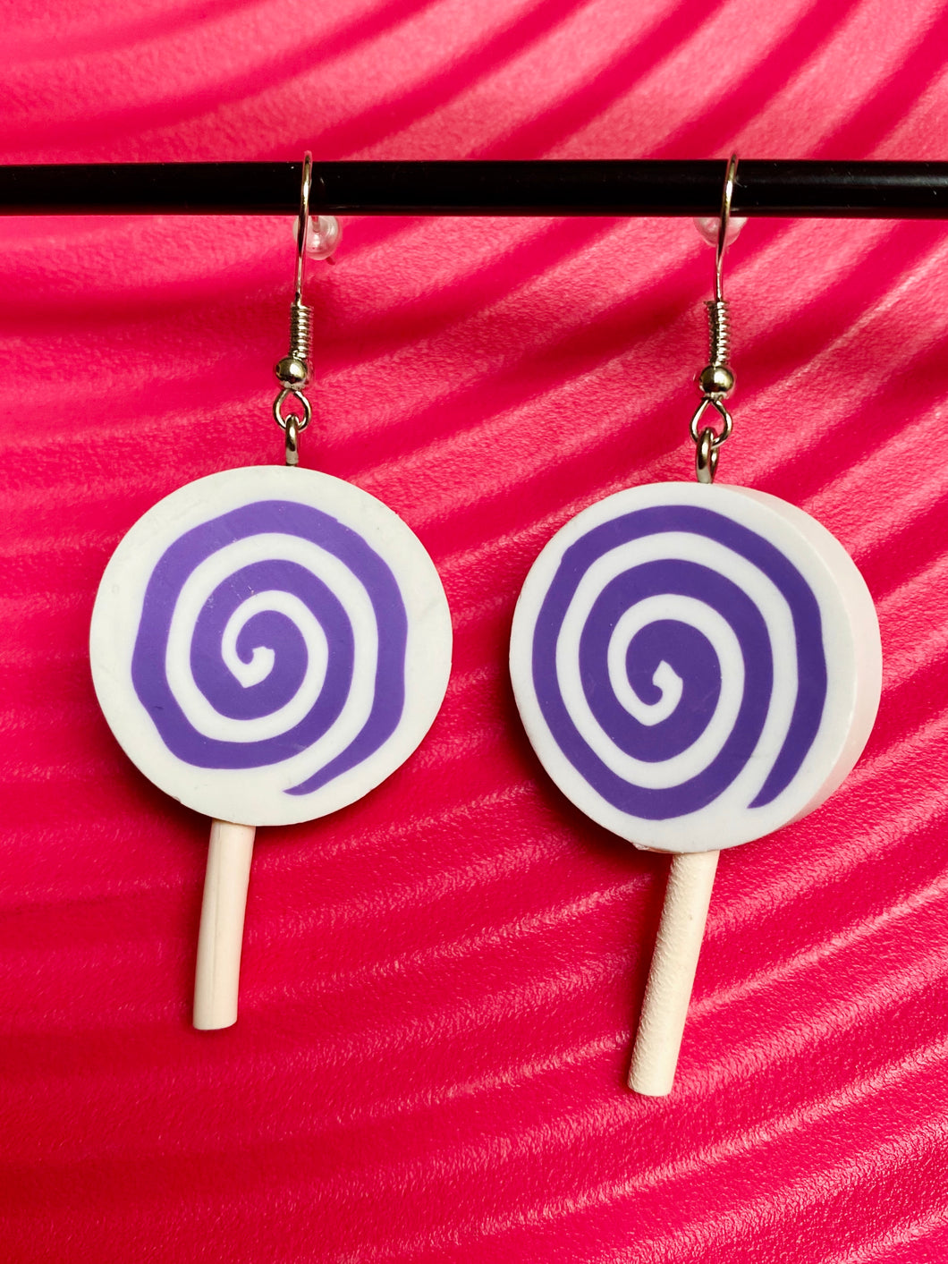 Vintage Inspired Earrings Lollipops in White and Purple with Silver Detail