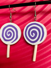 Load image into Gallery viewer, Vintage Inspired Earrings Lollipops in White and Purple with Silver Detail