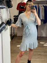 Load image into Gallery viewer, Vintage Inspired Wrap Dress in Light Blue Sizes XS-XL