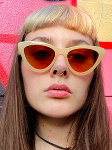 Vintage Inspired Sunglasses Cat Eye Shape in Cream Orange with UV400