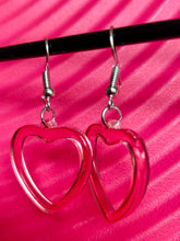 Load image into Gallery viewer, Vintage Inspired Heart Earrings in Pink with Silver Detail
