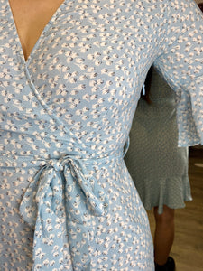 Vintage Inspired Wrap Dress in Light Blue Sizes XS-XL