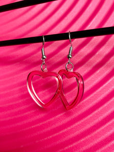 Vintage Inspired Heart Earrings in Pink with Silver Detail