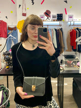 Load image into Gallery viewer, Vintage Inspired 90s Black Crossbody Bag with White Contrast Stitching